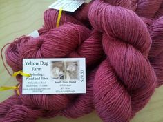 Sock yarn vermilion 3ply Mohairmerino by yellowdogfarmvt on Etsy, $19.50
