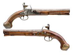 A PAIR OF 20 BORE FLINTLOCK PISTOLS OF LIVERY TYPE BY WILLIAM (2) BRANDER, LONDON, TOWER PRIVATE PROOF MARKS, CIRCA 1770 with swamped two-stage sighted barrels, engraved with foliage and inscribed 'London' over the breeches, engraved grooved tangs, signed border and scroll-engraved locks, figured walnut full stocks carved with raised apron mouldings about the tangs.