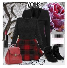 """Yoins : Black Skatter Dress"" by cherry-bh ❤ liked on Polyvore featuring NARS Cosmetics, women's clothing, women's fashion, women, female, woman, misses, juniors and yoins"