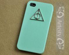HP Deathly Hallows Iphone Case, Light Green Iphone 4 case, Iphone 4s Case, iphone case Cover, Hard case. $8.99, via Etsy.