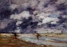 """""""Rivage à marée basse, la pluie, près de Trouville"""", huile de Eugène Louis Boudin (1824-1898, France)"""