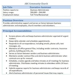 church executive assistant job description - Church Administrator Salary