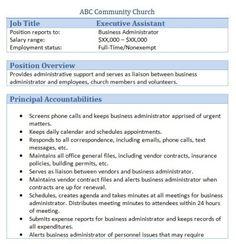 Sample Church Employee Job Description  Job Description And Churches