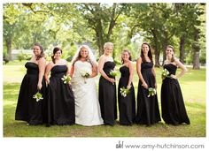 Black maxi dresses on the bridesmaids: elegant, timeless, flattering! // Sophisticated black-and-white wedding in Senatobia, MS. Memphis Wedding Photography by Amy Hutchinson Photography // Venue: 211 Main