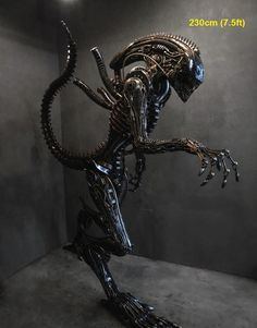 alien sculpture, life size scrap metal art