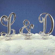 initial cake topper   Cursive Monogram Cake Toppers