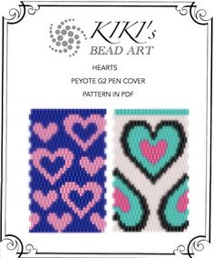 Peyote pen cover patterns- hearts, peyote patterns set of 2 for pen wrap -for G2 pen by Pilot-in PDF instant download