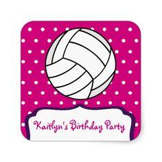 Girl's Volleyball Sticker - Pink w Purple