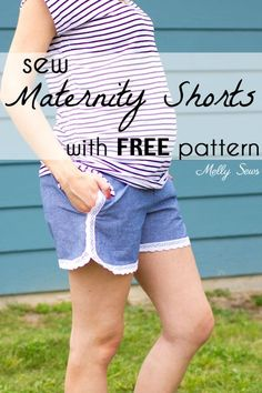 Lace trimmed chambray maternity shorts - free pattern and tutorial from Melly Sews