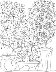 Garden Coloring Pages Tree Page Adult Sheets Books Colorful Flowers Diy Craft Projects