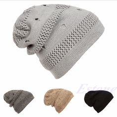 b88a9bfe6edcc6 Winter Women Men Beanie Hat Slouchy Baggy Unisex Knit Ski Cap Skull Hole Hip -hop