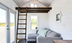 A beautiful, 204 sq ft custom home from the Mint Tiny House Company. Tiny House Company, Tiny House Listings, Tiny House Plans, Tiny House On Wheels, Small Space Living, Tiny Living, Small Spaces, Living Area, Living Rooms