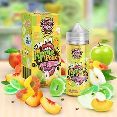 Apple Peach Sour Rings - Candy Shop E Liquid Juice Branding, Juice Packaging, Beverage Packaging, Cheap Vape Juice, Vape Facts, Vape Box, Vape Accessories, Vape Smoke, Colors