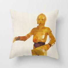 C3P0 Star Wars Pillow Cushion Cover Polygon Art by TheRetroInc