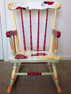 Ladybug Rocking Chair Flowers Garden by FrogsAndFairytales on Etsy, $180.00