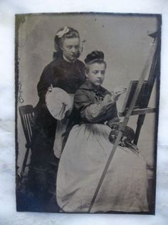 Vtg-Tintype-Photo-2-Stylish-Ladies-Painting-One-at-Easel-other-w-Palette-Paint