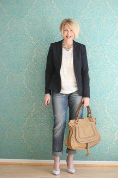 A fashion blog for women over 40 and mature women http://glamupyourlifestyle.blogspot.de/  Blazer: Zara Top: H+M Jeans: Fornarina Bag: Chloé Marcie Shoes: Pura Lopez