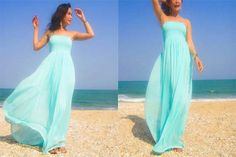 Tiffany Blue Silk chiffon long maxi dress