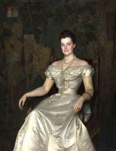 """""""Portrait of Maria Teresa Konstancja Skórzewska-Ogińska ( Polish noblewoman, 1857–1945)"""" by Kazimierz Mordasewicz (Polish,1859-1923); oil on canvas, 156 x 124 cm. The Lithuanian Art Museum."""