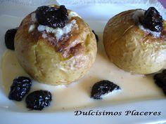 Manzana asada al Calvados sobre base de natillas