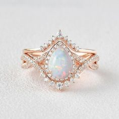Opal Wedding Ring Set, Art Deco Wedding Rings, Antique Wedding Rings, Wedding Rings Rose Gold, Art Deco Ring, Bridal Rings, Diamond Wedding Bands, Vintage Opal Engagement Ring, Vintage Wedding Ring Sets