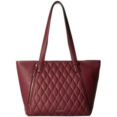 Vera Bradley Small Avery Tote (Claret) Tote Handbags ($188) ❤ liked on Polyvore featuring bags, handbags, tote bags, red, red leather tote bag, quilted tote, red leather purse, leather tote and red tote bag