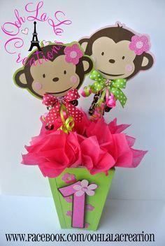 baby shower de monkey love girl - Buscar con Google Monkey First Birthday, Monkey Birthday Parties, Jungle Theme Birthday, First Birthday Party Themes, Baby Girl Birthday, Birthday Party Decorations, Baby Shower Decorations, Birthday Ideas, 21 Birthday