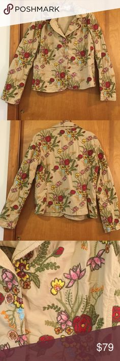 Johnny Was embroidered jacket size L Johnny was jacket is made from 97% cotton and 3% spandex. Tan body with red, blue, pink embroidered floral detail. Underarm to underarm 20 inches. Shoulder to bottom hem 22 1/4 inches Johnny Was Jackets & Coats Blazers