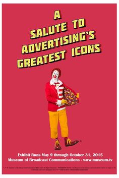 Ronald McDonald named as one of Advertising's Greatest Icons by The Museum of Broadcast Communications #ronaldmcdonald #mcdonalds #advertising