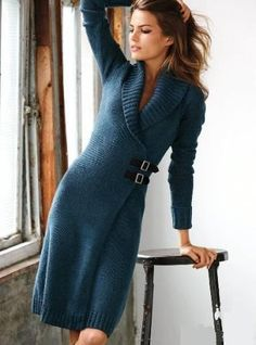 """Tendinte Rochii Tricotate picture [ """"love this sweaterdress"""", """"I love to wear sweater dress!"""", """"A beautiful knit dress-- if you have a great body like this!"""", """"sweater dress - I really want the pattern for this dress but can Knit Fashion, Fashion Outfits, Womens Fashion, Knit Dress, Wrap Dress, Sweater Dresses, Crochet Clothes, Knitwear, Winter Fashion"""