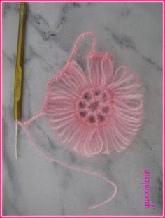 "yaseminlerim: """"Pembe Sal,in Yapilisi"""" Hairpin lace flower"