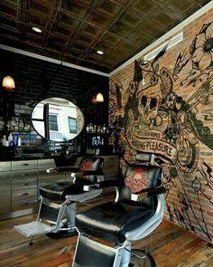 nearest henna tattoo, wing back tattoos for guys, flower tat. Barber Shop Interior, Barber Shop Decor, Studio Interior, Interior Design, Cafe Design, Design Design, Tattoo Studio, Barber Tattoo, Barbershop Design