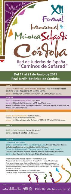 12th Annual International Sephardic Music Festival: June 2013, Cordoba, Spain