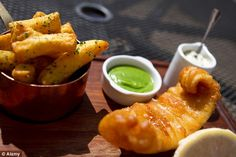 Fish and chips from the Tom Kerridge's Hand & Flowers pub and restaurant in Marlow, Buckinhamshire