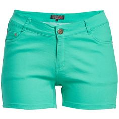1826 Jeans Aqua Mint Twill Shorts ($15) ❤ liked on Polyvore featuring shorts, plus size, mint green shorts, plus size shorts, mint shorts, womens plus size shorts and twill shorts