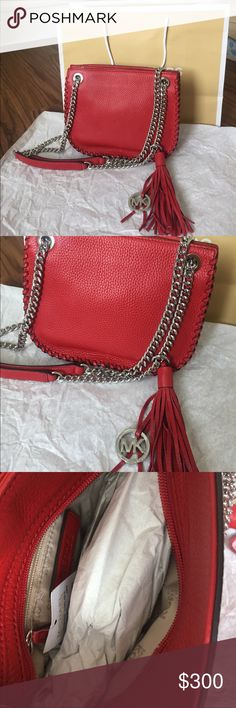 """Michael Kors Whipped Chelsea Red Leather Bag Michael Kors Whipped Chelsea Messenger. Embossed leather. Red. Silver chained strap that can be adjusted for over the shoulder or made longer for crossbody. NWT. Never used. Originally $328. Zipper to close. One zipper on the inside. Tassel with silver MK emblem. About 9"""" width. 7.5"""" length. Michael Kors Bags Shoulder Bags"""