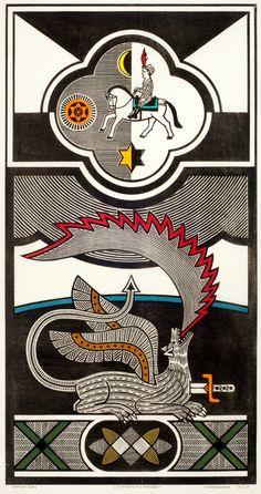 Gilvan José de Meira Lins Samico |  A Espada e o Dragão, 2000 |  Xilogravura ed 58/120 |  93 x 48,7 cm |  Foto: João Liberato.
