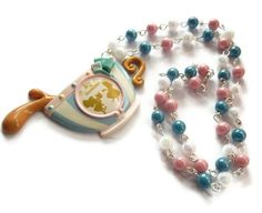 Alice Tea Cup Necklace Kawaii Beaded by KitschBitchJewellery, $29.99
