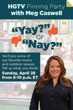LOOK! You're invited to join HGTV Celebrity Designer Meg Caswell on Pinterest this Sunday, April 28 from 8-10 p.m. ET! Repin this to invite your friends. Don't miss it! >> http://blog.hgtv.com/design/2013/04/25/pinning-party-with-meg-caswell?soc=pinterest