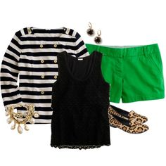 kelly green, black and white stripes, leopard great combinations.