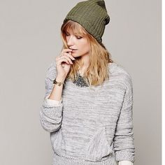 New Free People In My Pocket Sweater in Grey New Free People In My Pocket Sweater in Grey size xs. Slouchy sweater has a front pouch pocket and can be worn as a boat neck or off the shoulder for a more relaxed look. Free People Sweaters Crew & Scoop Necks