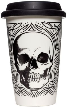 Inked Boutique - Skull Tumbler Cream Punk Goth Housewares Home Decor… Skull Decor, Skull Art, Mascaras Halloween, Gothic House, Skull And Bones, Grunge, Macabre, Household Items, Home Decor Accessories