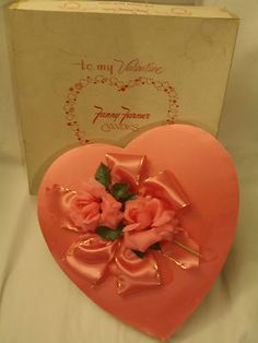 Valentine's Day to me is vintage. I think of the beautiful vintage fabric heart-shaped chocolate candy boxes; because to me, those were the ones that had & showed meaning, compared to the paper boxes in today's day & age~