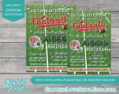 NFL Inspired Football Personalized Birthday Invitation |4x6 or 5x7, Digital or Printed, FREE US Shipping & Envelopes| Sports, Red, Any Age by GraphicLoveShop on Etsy