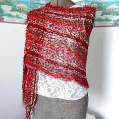 Vintage Red Shawl Boa Gypsy Shawl Wrap by GypsythatIwas on Etsy, $34.00