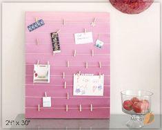 Bulletin Board , Gift For Girl , Wall Art Teen Girls Room , Memo Holder , Office Organizer , Pink Room Decor , Card Display , Kids Room Art