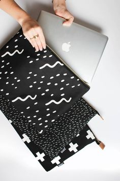"Modern Laptop Sleeve - **NOW IN 13"" MACBOOK size** Waves Design - MacBook Case…"