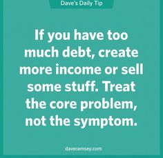 The symptom is that you are tight on money. The problem is that you have too much debt versus income. ~Dave Ramsey Financial Peace, Financial Literacy, Financial Success, Financial Planning, Financial Quotes, Debt Free, Money Saving Tips, Money Tips, Money Budget
