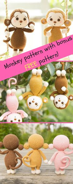 Monkey Crochet Pattern, Handmade Amigurumi Pattern, Tutorial with Photos, PDF Crochet Pattern, Christmas Gift(with Surprise Free Pattern) #affiliate