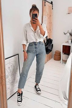 Basic Outfits, Mode Outfits, Cute Casual Outfits, Stylish Outfits, Summer Outfits, Fashion Outfits, Mom Jeans Outfit Summer, Weekend Outfit, Summer Shorts